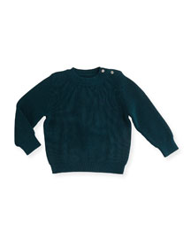 Robinson Ribbed Pullover Sweater, Dark Teal, Size 3M-3Y