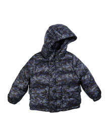 Minster Down Camo Puffer Jacket, Blue, Size 4-14
