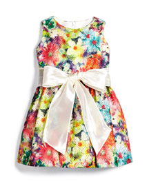 Garden Party Mesh A-Line Dress, Multicolor, Size 7-14
