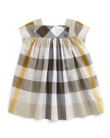 Paisley Check Cap-Sleeve Shift Dress, Mink Gray, Size 3M-3Y