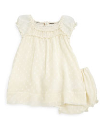 Vera Plisse Ruffle-Trim Shift Dress, Parchment, Size 3M-3Y