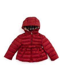 Janie Hooded Puffer Jacket, Dark Crimson, Size 3M-3Y