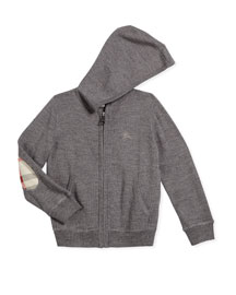 Hary Merino Hooded Zip-Front Sweater, Gray, Size 4-14