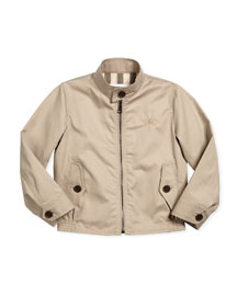 Beckford Long-Sleeve Twill Jacket, Taupe, Size 4-14