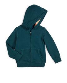 Pearce Hooded Fleece-Lined Sweater, Dark Teal, Size 4-14