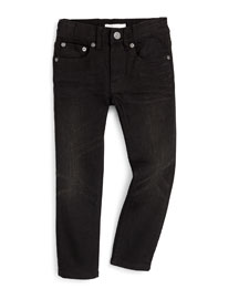 Skinny Five-Pocket Denim Jeans, Black, Size 4Y-14Y