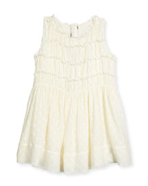 Stephe Dotted Silk Dress, Cream, Size 4Y-14Y