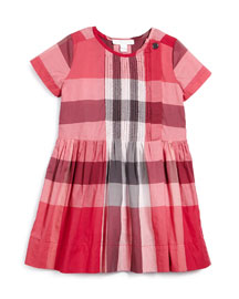 Nieve Check-Print Poplin Dress, Size 4-14