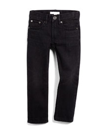 Skinny Five-Pocket Faded Denim Jeans, Black, Size 4Y-14Y