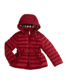 Janie Hooded Puffer Jacket, Dark Crimson, Size 4-14