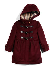 Ally Hooded Wool Duffle Coat, Deep Burgundy, Size 4Y-14Y