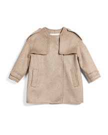 Aamna Cashmere Cardigan Coat, Taupe, Size 4Y-14Y
