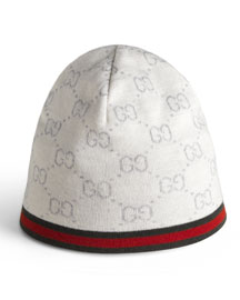 Guccissima Wool Hat, Ivory
