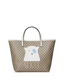 Girls' Micro GG Supreme Bear-Graphic Tote Bag, Beige
