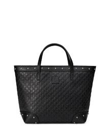Guccissima-Leather Tote Bag, Black