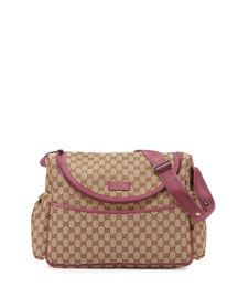 Travel Guccissima-Print Diaper Bag w/ Changing Pad