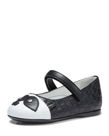 Guccissima-Embossed Leather Ballet Flat, Black/White, Toddler