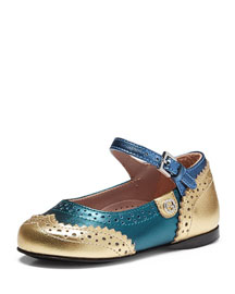 Metallic Leather Wing-Tip Mary Jane, Gold/Teal/Blue, Toddler