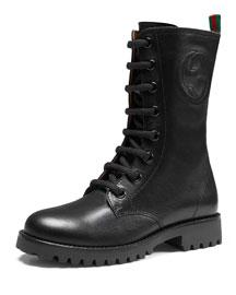 Nina Leather Combat Boot, Black, Junior
