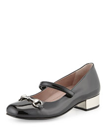 Patent Leather Horsebit Mary Jane, Black, Youth