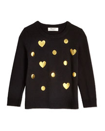 Foil-Print Crewneck Sweater, Black, Size 4-7
