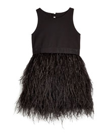 Blaire Feather-Skirt Sleeveless Dress, Black, Size 4-7
