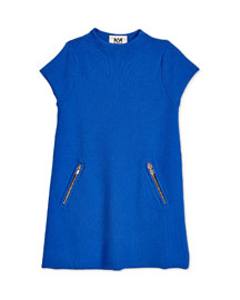 Short-Sleeve Funnel-Neck Tunic Dress, Cobalt, Size 8-14