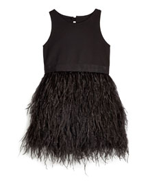 Blaire Feather-Skirt Sleeveless Dress, Black, Size 8-14