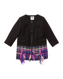 Tweed-Hem Zip-Front Combo Jacket, Black/Multicolor, Size 4-7