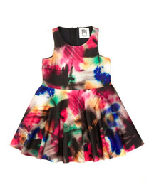 Graffiti-Print A-Line Racerback Dress, Black/Multicolor, Size 18-4