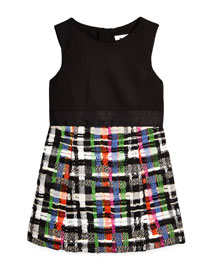 Couture Tweed Combo Dress, Black/Multicolor, Size 4-7