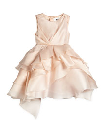 Tara Silk Tiered Cocktail Dress, Blush, Size 4-7