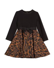 Leopard-Print Combo Dress, Camel/Black, Size 8-12