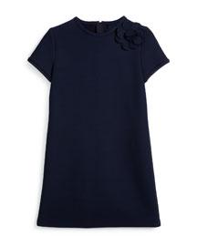 Short-Sleeve Wool-Blend Shift Dress, Blue, Size 8-12