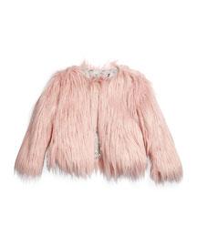 Open-Front Faux-Fur Coat, Size 4-14