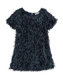 Short-Sleeve A-Line Confetti Dress, Size 7-14