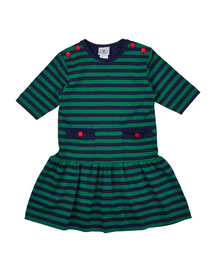 Striped Half-Sleeve Fit-and-Flare Jersey Dress, Navy/Green, Size 2T-6