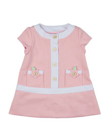 Cap-Sleeve Contrast-Trim Shift Dress, Pink/White, Size 2T-3T