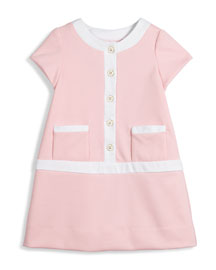 Cap-Sleeve Contrast-Trim Shift Dress, Pink, Size 4-6