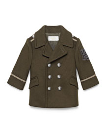 Caban Wool-Blend Military Jacket, Dark Green, Size 12-36 Months