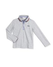 Long-Sleeve Slub-Knit Oxford Shirt, Size 6-36 Months
