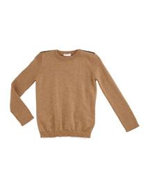 Wool Web-Trim Pullover Sweater, Carmel, Size 6-36 Months