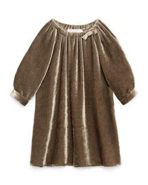 Long-Sleeve Silk-Velvet Dress, Hazel, Size 6-36 Months
