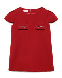 Short-Sleeve Gabardine Shift Dress, Red, Size 6-36 Months