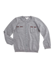 Long-Sleeve Wool Button-Front Cardigan, Size 6-36 Months