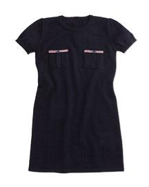 Short-Sleeve Wool Shift Dress, Navy, Size 6-36 Months