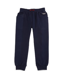 Quilted-Trim Track Pants, Blue, Size 6-36 Months