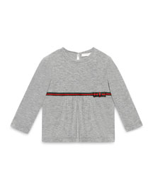 Long-Sleeve Web-Trim Jersey Tee, Light Gray, Size 6-36 Months