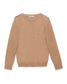 Knit Crewneck Pullover Sweater, Carmel, Size 4-12