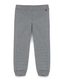 Quilted Cotton Track Pants, Gray, Size 4-12